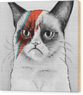 Grumpy Cat As David Bowie Wood Print