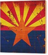 Grunge And Splatter Arizona Flag Wood Print