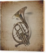 Grunge French Horn Wood Print