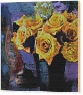 Grunge Friendship Rose Bouquet With Candle By Lisa Kaiser Wood Print