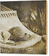 Grunge Photo Of Hammock And Book Wood Print