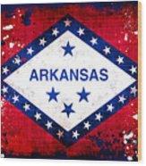 Grunge Style Arkansas Flag Wood Print