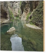 Guadalevin River At El Tajo Gorge From The Bottom Of The Secret  Wood Print