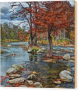 Guadalupe River In Autumn Wood Print