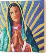 Guadalupe With Rose Wood Print