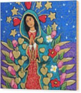 Guadalupe With Stars Wood Print