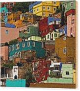 Guanajuato Hillside 4 Wood Print by Mexicolors Art Photography