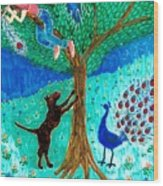 Guard Dog And Guard Peacock  Wood Print