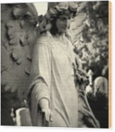 Guardian Angel Watching Over Wood Print