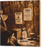 Guarding The Payroll - Sepia Wood Print