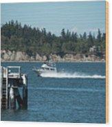 Guemes Island And Fishing Boat Wood Print