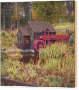 Guildhall Grist Mill In Fall Wood Print