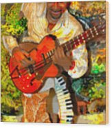 Guitar And Keys Wood Print