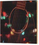 Guitar And Lights Wood Print