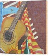 Guitar And Oranges Wood Print