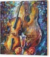 Guitar And Violin Wood Print