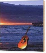 Guitar At Sunrise Wood Print