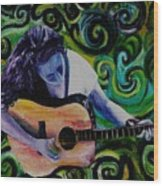 Guitar Heroine Wood Print