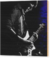 Guitar Man In Blue Wood Print by Meirion Matthias