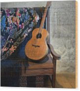 Guitar On A Bench Wood Print