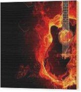 Guitar On Fire Wood Print