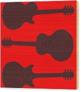 Guitar Silhouette Background Wood Print