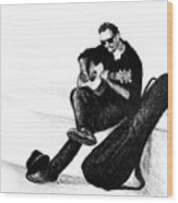 Guitarist Playing On The Street. Drawing Illustration Wood Print