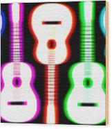 Guitars On Fire 5 Wood Print by Andy Smy