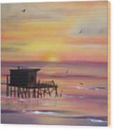 Gulf Coast Fishing Shack Wood Print