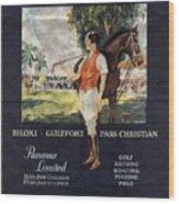 Gulf Coast - Illinois Central - Vintage Poster Folded Wood Print
