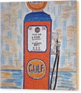 Gulf Gas Pump Wood Print