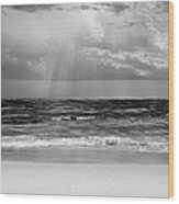 Gulf Of Mexico In Black And White Wood Print