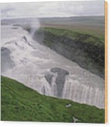 Gullfoss A Powerful Waterfall In The Canyon Of The Hvita River Wood Print by Sami Sarkis