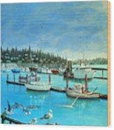 Gulls at Newport Harbor Wood Print