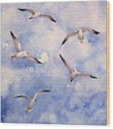Gulls Is Flight Wood Print