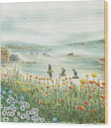 Gulls Over Flowers At The Bay Wood Print