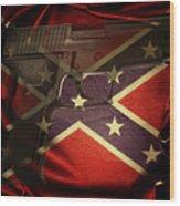Gun And Confederate Flag Wood Print