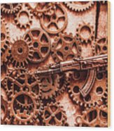 Guns Of Machine Mechanics Wood Print