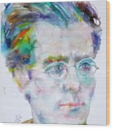 Gustav Mahler - Watercolor Portrait.3 Wood Print