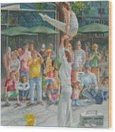 Gymnast Wood Print by Charles Hetenyi