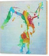 Gymnast Watercolor Paint Splatter Wood Print