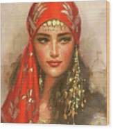 Gypsy Girl Portrait Wood Print