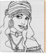 Gypsy Sketch Wood Print