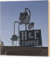 H And C Coffee Sign Roanoke Virginia Wood Print