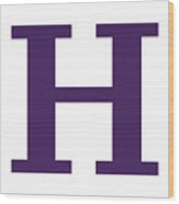 H In Purple Typewriter Style Wood Print