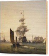 H M S Britannia Entering Portsmouth Wood Print