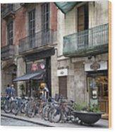 Barcelona Shops Wood Print