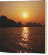 Ha Long Bay Sunset Wood Print