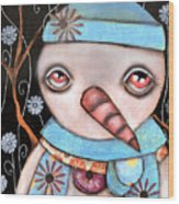 Haaaa Its Snowing Wood Print by  Abril Andrade Griffith