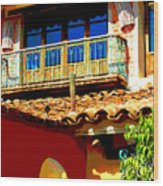 Hacienda Balcony By Darian Day Wood Print